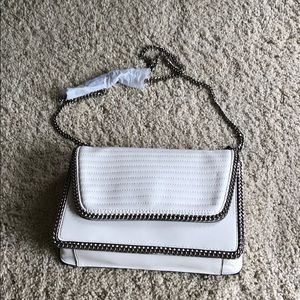Express white purse with chain detail